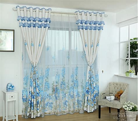 country style living room curtains country style printed floral pattern poly cotton blending living room curtain