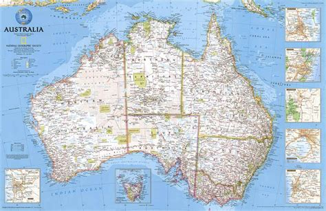 australia road map australia wall map laminated by national geographic l