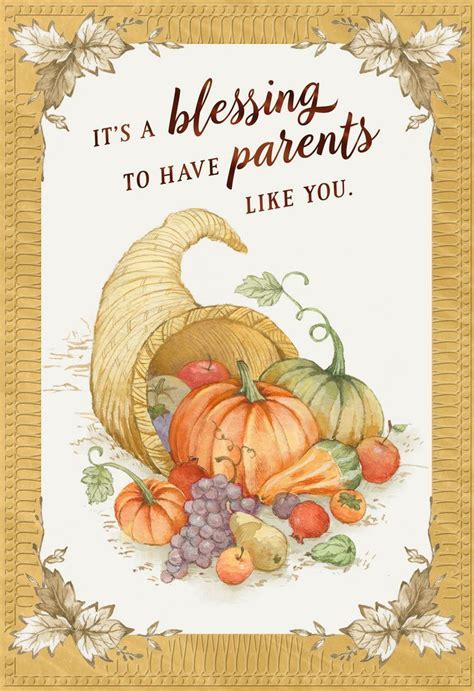 It's a Blessing Thanksgiving Card for Parents   Greeting