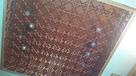 copper ceiling tiles installed in customers home looks