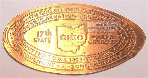 Ohio The 17th State by Rab 5 Vintage Elongated Cent Ohio 17th State