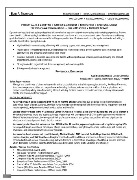 sales representative resume exles sle resume objective for sales representative