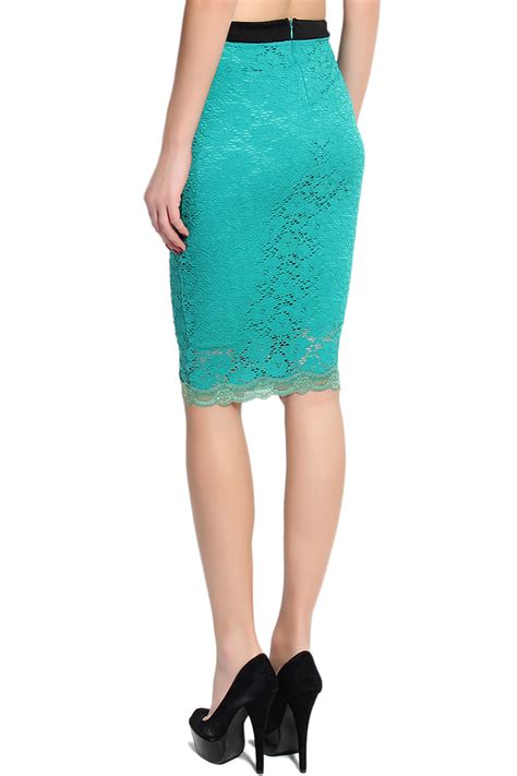 mogan floral crochet lace overlay stretch pencil skirt mid