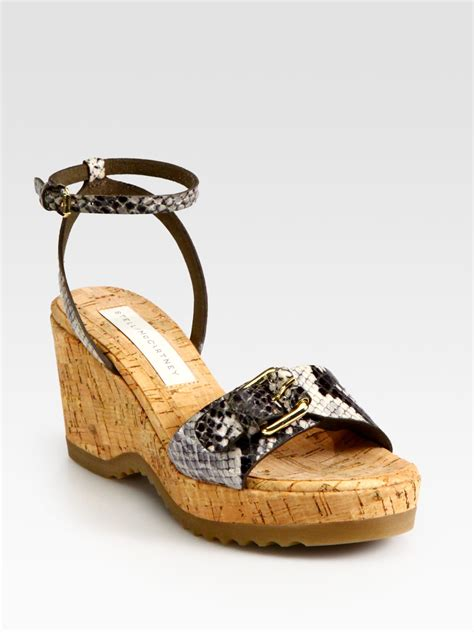 stella mccartney faux leather snakeprint cork wedge