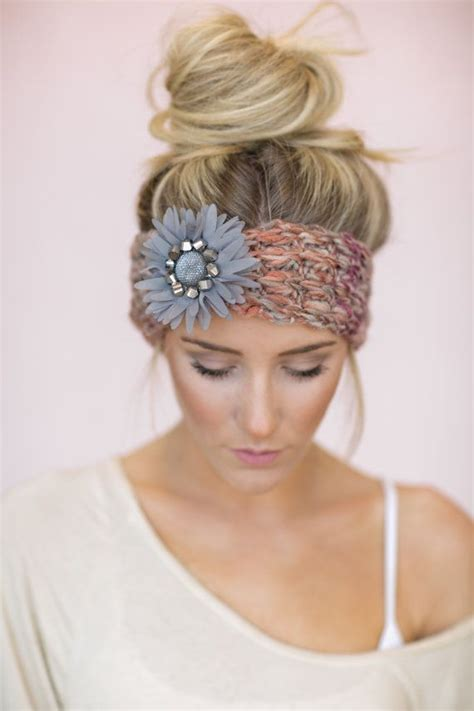 cute hairstyles with headbands gray boho knitted headband cute hair bands knit by