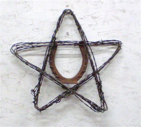 lucky horseshoe barbed wire rustic home decor