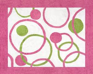 Circles hot pink amp lime green polka dot rug soft accent floor area