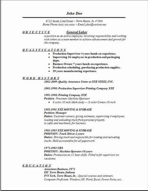 Objective For General Labor Resume by Resume Objective Exles For General Labor Svoboda2