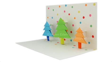 How To Make A Origami Pop Up Card - origami pop up tree card tutorial hd
