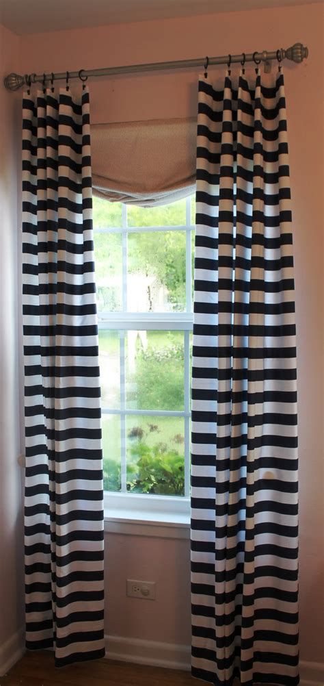 White And Navy Striped Curtains Simple Design Bedroom With Navy White Horizontal Stripe Curtain And Polished Brass Curtain Rods