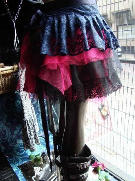 pink  black gothic net  lace skirt   sew