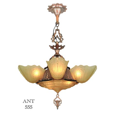 Slip Shade Chandelier Deco Antique 1930s Chandelier With Slip Shades By Markel Lighting Ant 555 For Sale