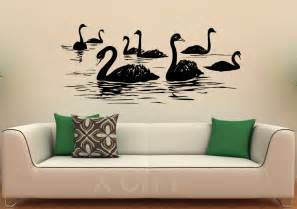 home interior wall hangings aliexpress buy swan birds wall decal lake vinyl