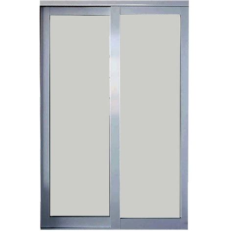 Frosted Glass Sliding Doors Interior Truporte Grand 48 In X 80 In 2030 Series 3 Lite Tempered Frosted Glass White Composite