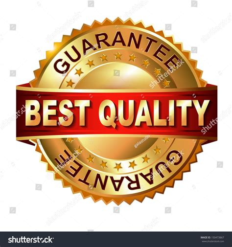 bett qualität best quality guarantee golden label ribbon stock