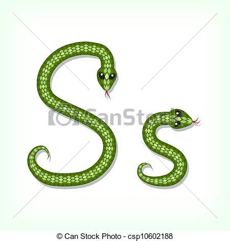 Vector of Snake font. Letter S   Font made from green