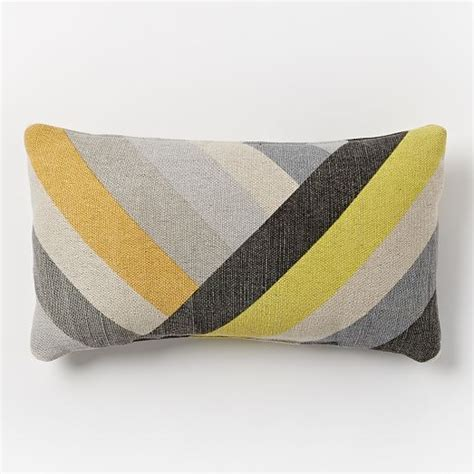 West Elm Outdoor Pillows by Angled Stripes Indoor Outdoor Pillow Slate West Elm