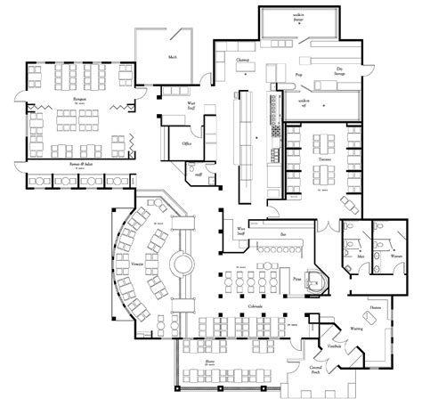 floor plan architect restaurant kitchen plans design afreakatheart