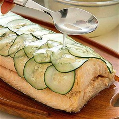 salmon buffet recipes poached salmon topped with wafer thin slices of cucumber makes a dramatic presentation for a