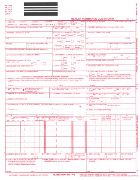 Hcfa 1500 Template sle cms 1500 claim form pictures to pin on