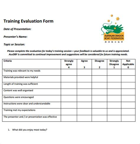 search results for training evaluation form doc