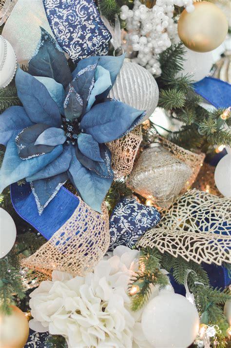 blue and white ornaments parade of trees 2016 kelley nan