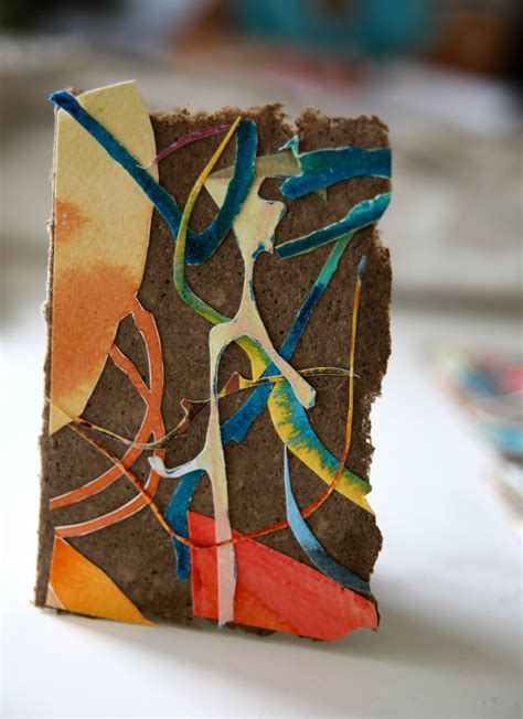 Handmade Watercolour Paper - original abstract watercolor collage on handmade paper