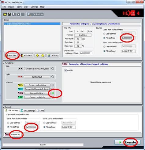 binary format converter convert binary file to intel hex format software free