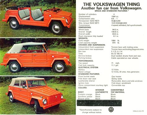 volkswagen thing vw thing sales brochures dastank dastank com vw thing