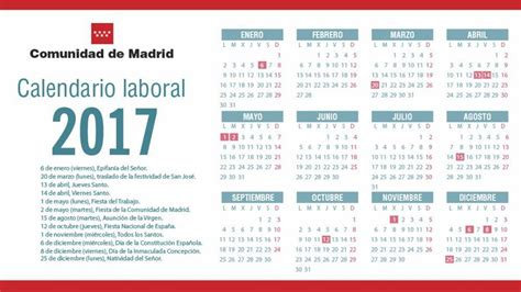dias inhabiles 2017 en mexico calendario laboral 2017 en la comunidad de madrid todos