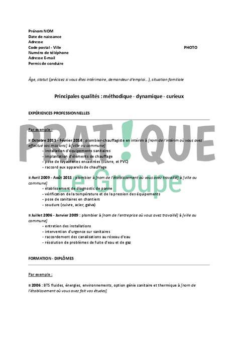Lettre De Motivation De Plombier modele cv plombier sanitaire cv anonyme
