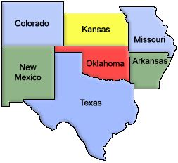 map of and surrounding states okgenweb the place for oklahoma genealogy
