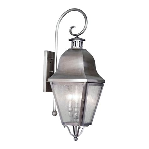 Pewter Outdoor Lighting Seeded Glass Outdoor Wall Light Pewter Livex Lighting 2555 29 Destination Lighting