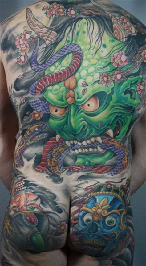 hannya mask cherry blossom tattoo hannya mask japanese backpiece by bart andrews tattoonow