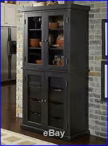 Black Display Cabinet With Drawers Kitchen China Cabinet Pantry Black Wood Glass Dining