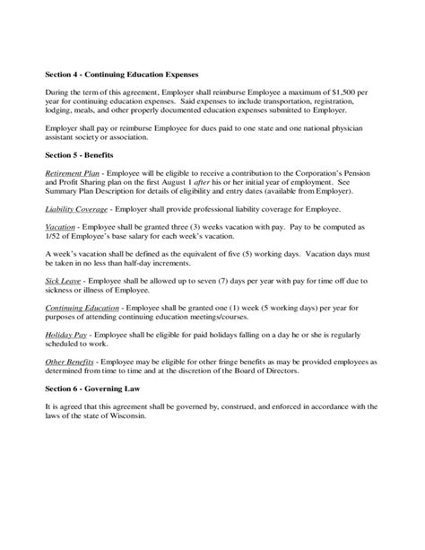 Employee Contract Form Wisconsin Free Download Physician Employment Contract Template