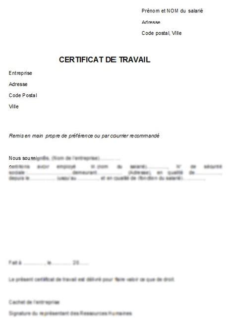Modele Certificat De Travail