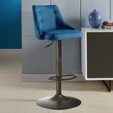 Blue Tufted Bar Stools by Adjustable Height Button Tufted Fabric Bar Stool Blue