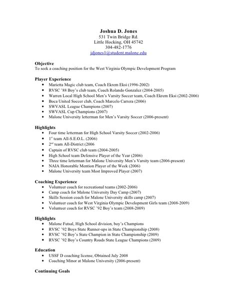Sle College Letter Of Recommendation From A Coach Soccer Player Resume Sle 28 Images Professional College Football Coach Resume Templates To
