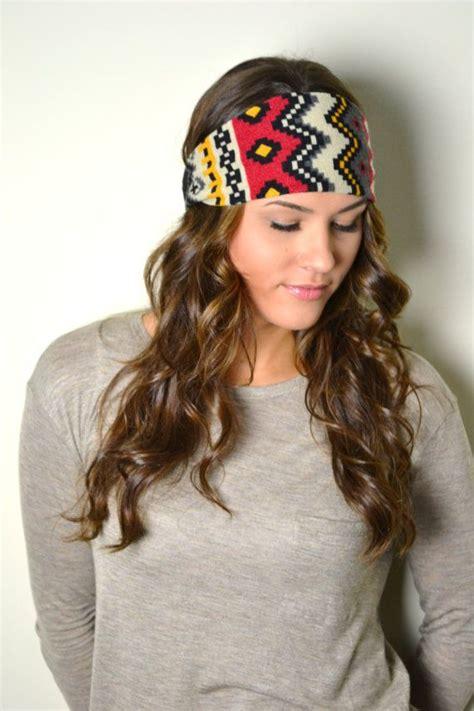 Bandana Wanita Headband Headwear Ikat Kepala navajo boho aztec tribal western ikat print knit headband turban ear warmers