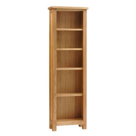 Lyon Petite Oak Slim Bookcase 5 Shelves Rustic Oak Fully Slim Bookshelves