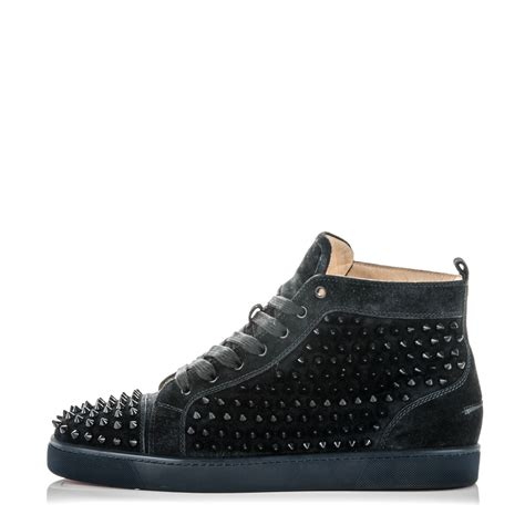 louboutin sneakers mens christian louboutin mens suede louis spikes flat sneakers