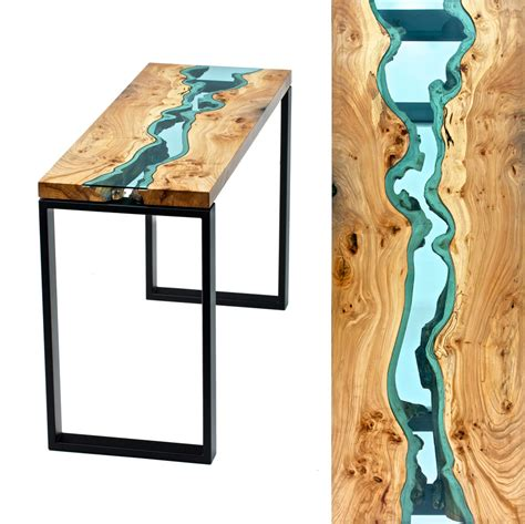 Table Topography: Wood Furniture Embedded with Glass Rivers and Lakes by Greg Klassen   Colossal
