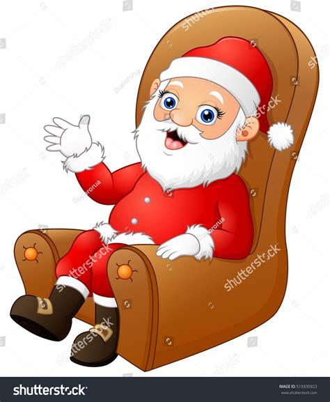 handson sofa vector illustration of cute santa claus sitting and waving