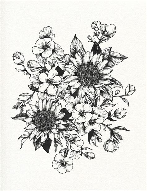 flower garden tattoo designs black and white flower designs collection 86