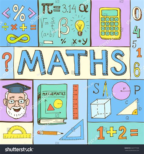 doodle maths sign up maths colorful vector illustration stock vector