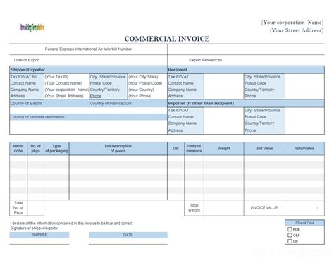 commercial invoice template fedex commercial invoice templates