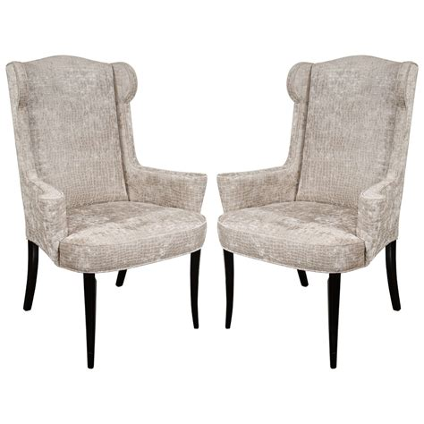 Mid Century Modern Upholstery Pair Of Mid Century Modernist Scroll Arm Wingback Chairs