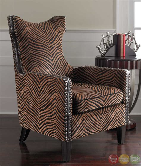 Animal Print Armchair by Kimoni Zebra Animal Print Wing Back Accent Armchair 23003