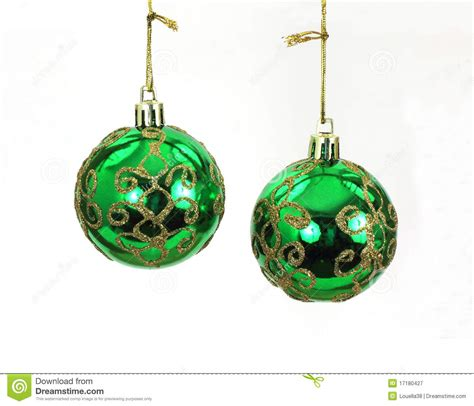 hanging green and gold christmas tree balls stock image